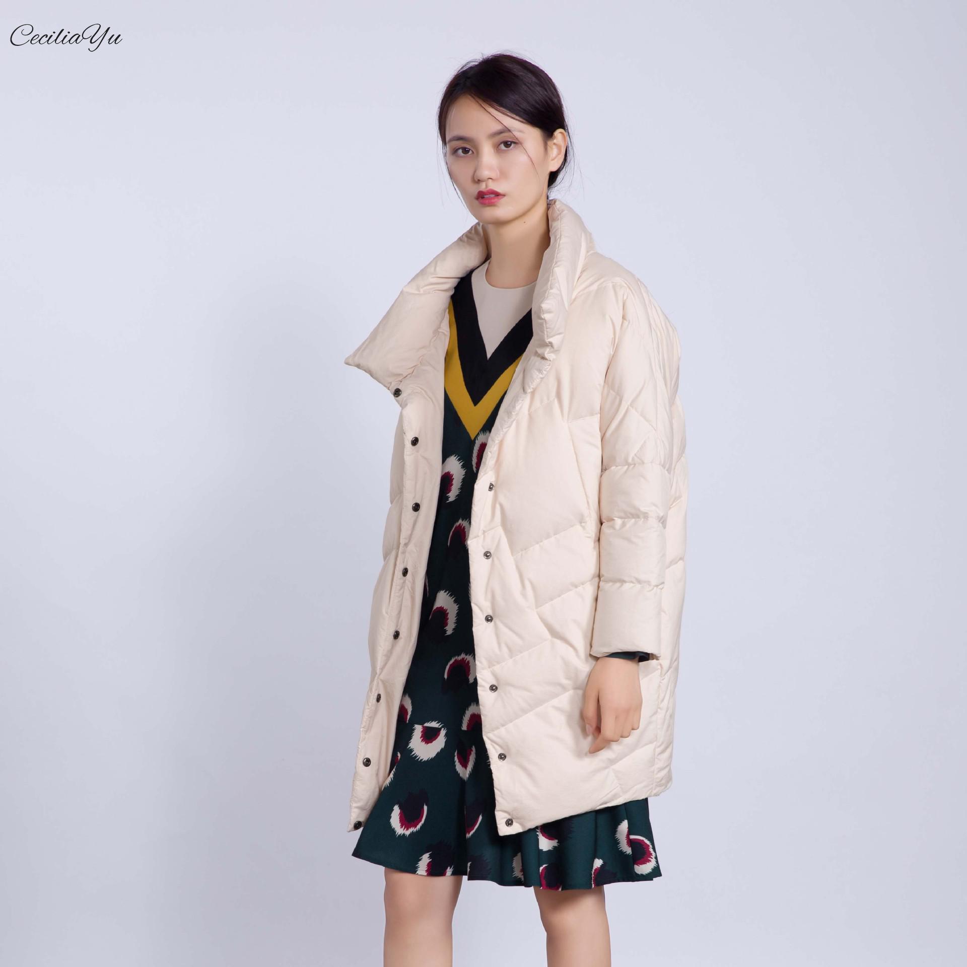 2018 Vers Service De À noir Beige Mode Style Le Porter Géométrique Et Ceciliayu Manteau Nouveau Bas Vêtement Facile Japonais D'hiver Automne Femmes SxaKwd