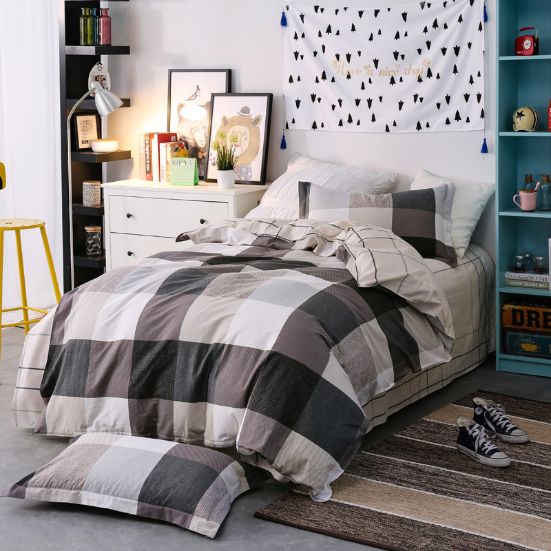 3pcs Twin Size High quality 100%Cotton Fashion Simple Printed Bedding set Comfortable Duvet Cover set Bed Sheet Pillowcase