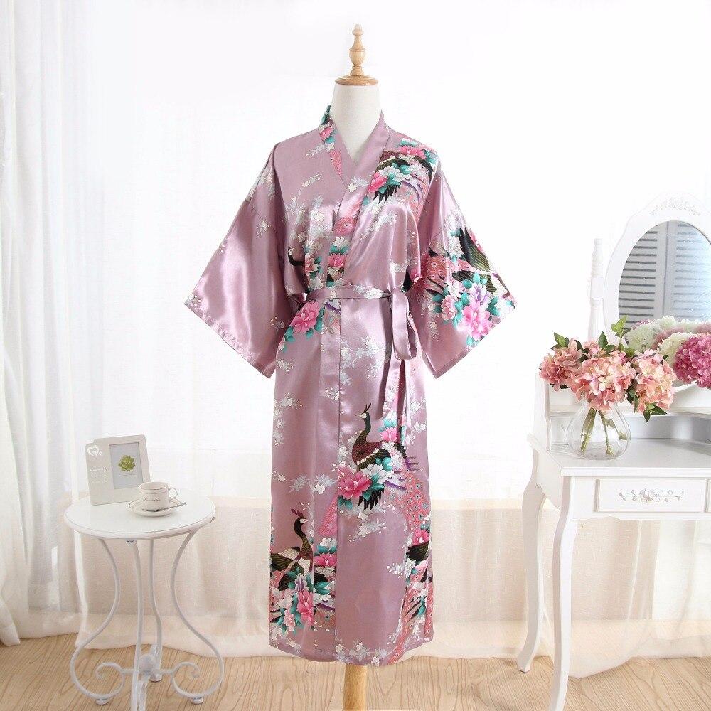 Frauen Silk Satin Lange Hochzeit Braut Brautjungfer Robe Floral Kimono Robe Feminino Bad Robe Große Größe Peignoir Femme Sexy Bademantel