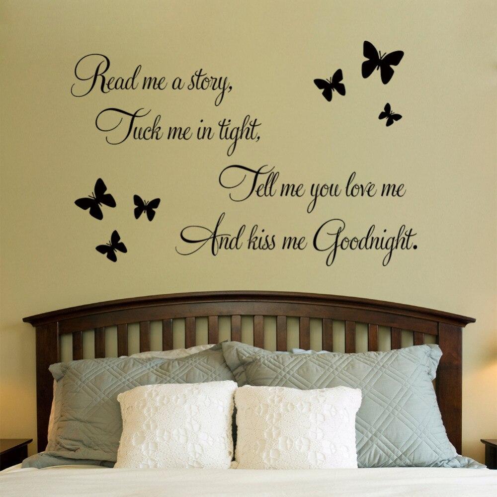 Kiss me Goodnight\'\' butterflies DIY Art Vinyl Quote Wall Sticker ...