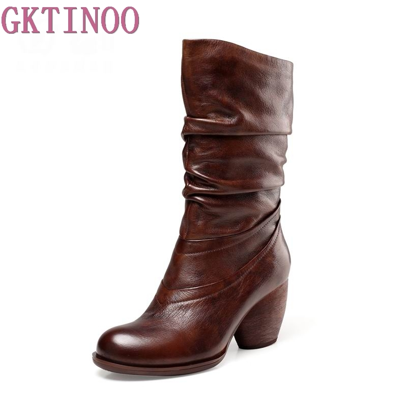 GKTINOO New Arrival Autumn Winter Handmade Vintage Women Boots Mid-Calf Round Toes Genuine Leather High Heel Boots 2018 new arrival fashion winter shoe genuine leather pointed toe high heel handmade party runway zipper women mid calf boots l11