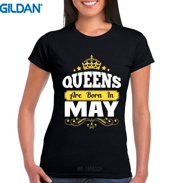 Camisetas Personalizadas cuello redondo reinas cortas nacen en mayo  cumpleaños diseño mujeres camisetas 46664af09d28b