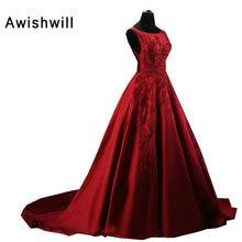 Vestido Longo de Festa Para Casamento A-line без рукавов аппликация вышитый бисером атласная формальная вечерняя мантия Evvening Dresses Long Elegant