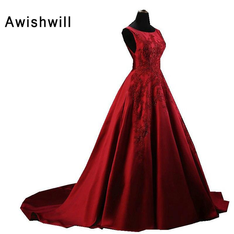 7502c4215 Ofertas especiales Vestido longo de festa para casamento a line sin mangas  rebordeado applique satinado formal vestido de