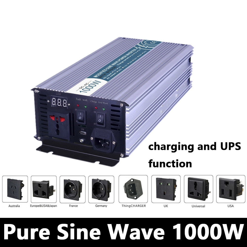 1000W Pure Sine Wave Inverter,DC 12V/24V/48V To AC110V/220V,off Grid Solar power Inverter,voltage Converter with charger and UPS