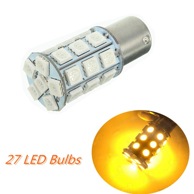 27 SMD 5050 LED Bulbs Turn/Brake Backup/Reverse/Tail  Light Yellow 150 Degrees BAU15s/PY21W Auto Led Bulb 12V