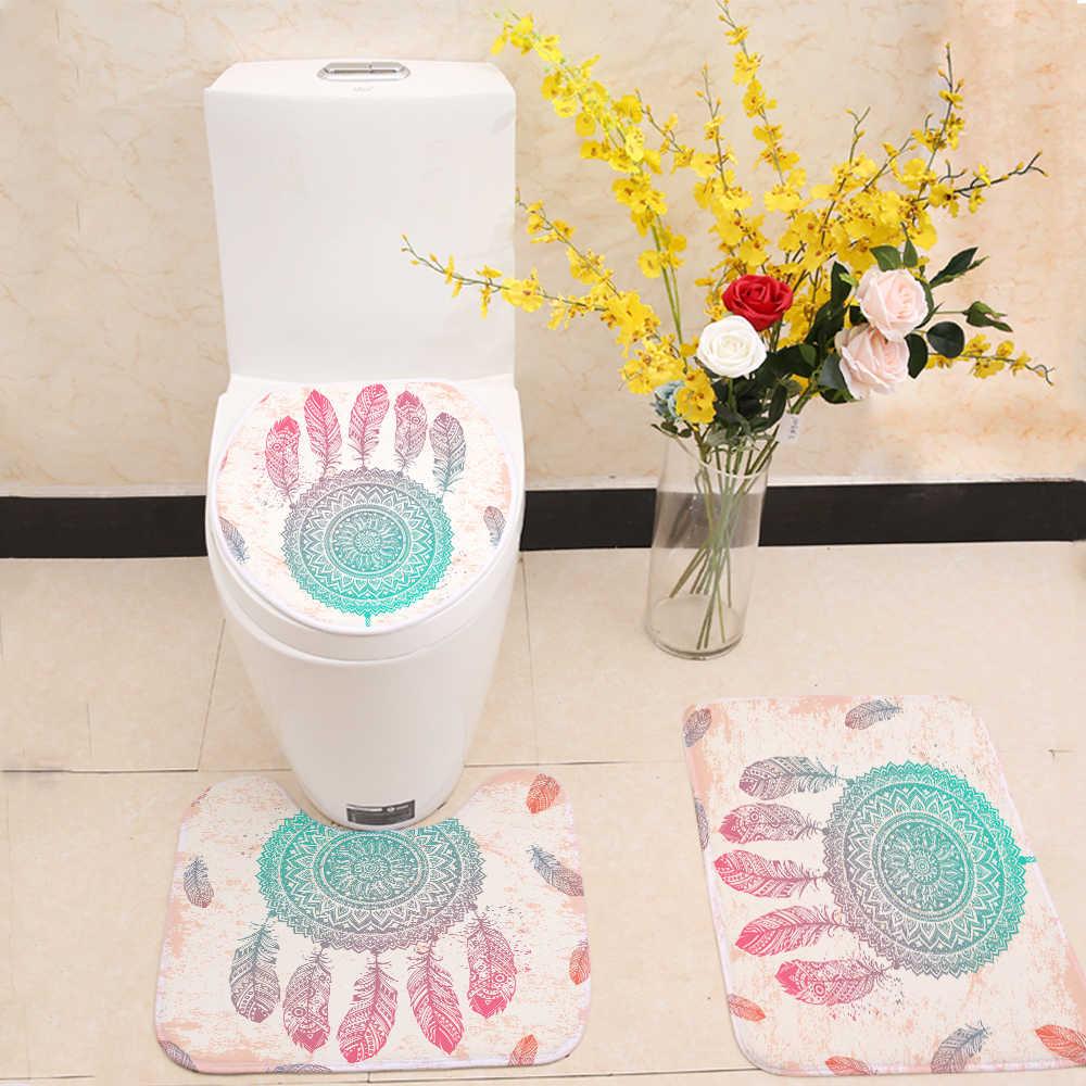 Miracille حلم الماسك دش مجموعة الستائر مقاوم للماء البوليستر حمام الستائر 3 قطعة بساط للحمام غطاء للحمام المنزل