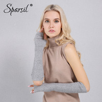 Sparsil Women New Mink Cashmere Half Finger Gloves Warm Soft Elbow Length Glove Autumn Winter 40&50cm Long Knitted Mittens