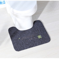 U Shaped Strong Water Absorption Bathroom Mats Pastoral Style Embroidered Floral Prints Anti Slip WC Mats