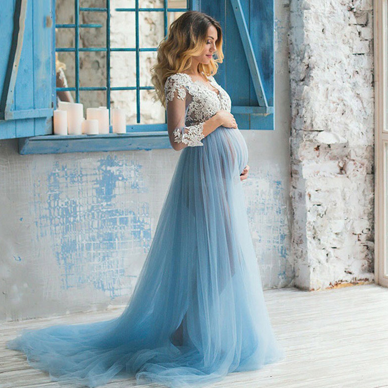 Verngo Pregnant Wedding Dresses Boho Wedding Dress Blue Appliques Lace Tulle Long Sleeve Maternity Bridal Gown For Weddings