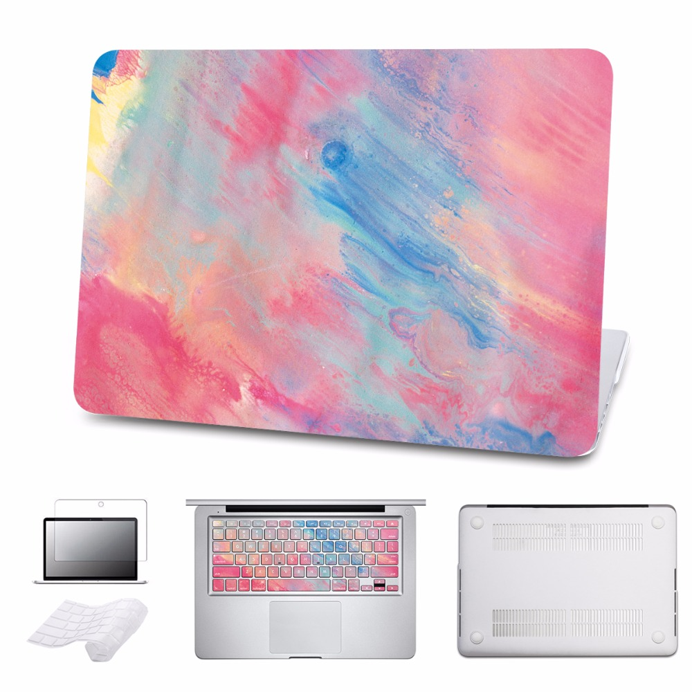 Case For Apple Macbook Air 13.3 11 Pro 13 12 15 Retina Laptop Cover 2016 A1707 New Touch Bar Model + Keyboard Cover 5 in 1 new for coque macbook air pro retina 11 13 15 cover marble stone pc case for macbook air 13 case free keyboard cover dust plug