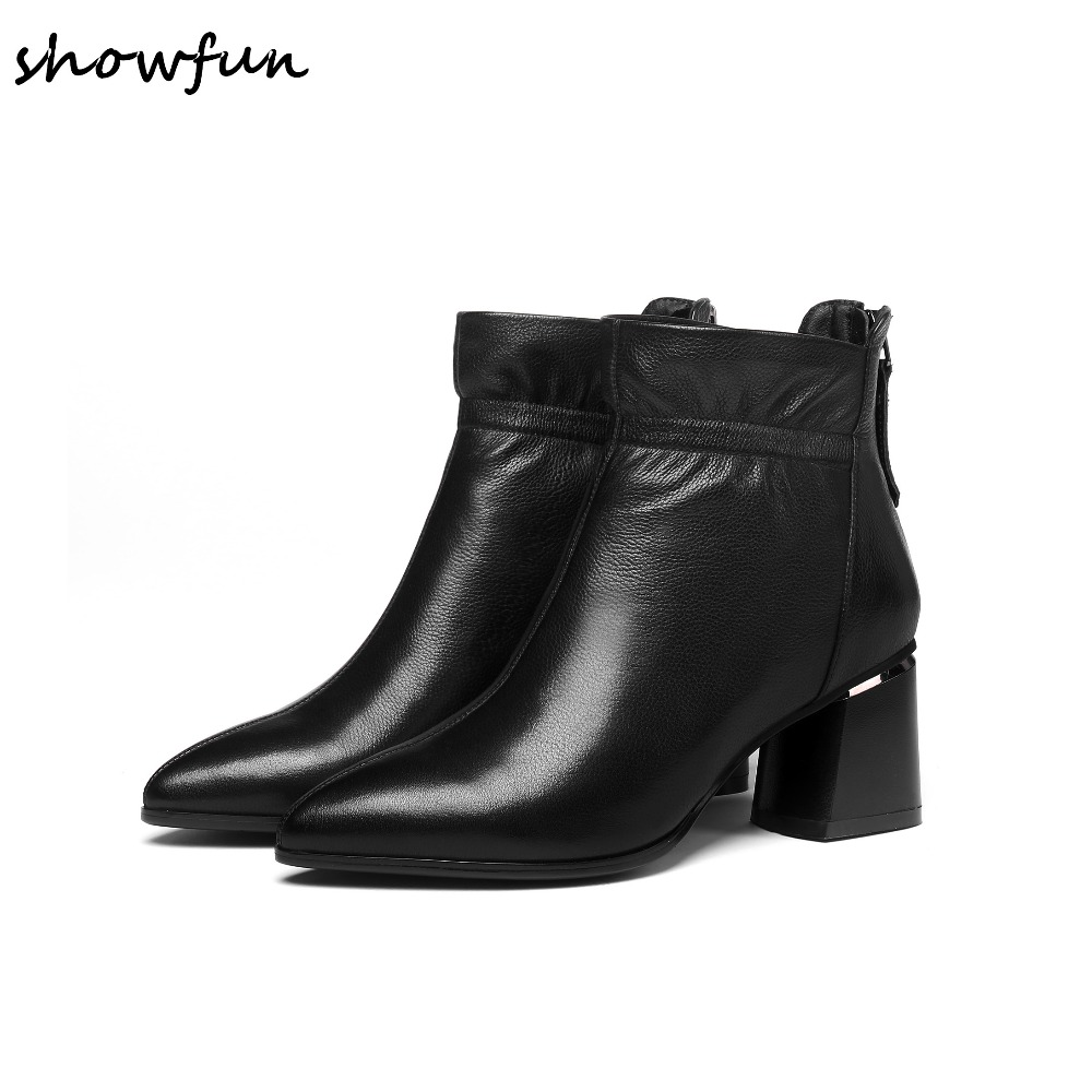 Plus Size 34-42 Women's Genuine Leather Med Heel Autumn Ankle Boots Pointed Toe Short Booties Winter Comfort Shoes for Women Hot women s genuine leather low heel comfortable autumn ankle boots brand designer pointed toe elegant short booties shoes women hot