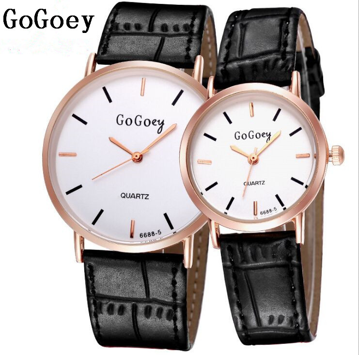 Hot Sales Gogoey Brand Leather Pair Watches Women Men Lovers Fashion Casual Dress Quartz Wristwatches 6688-5