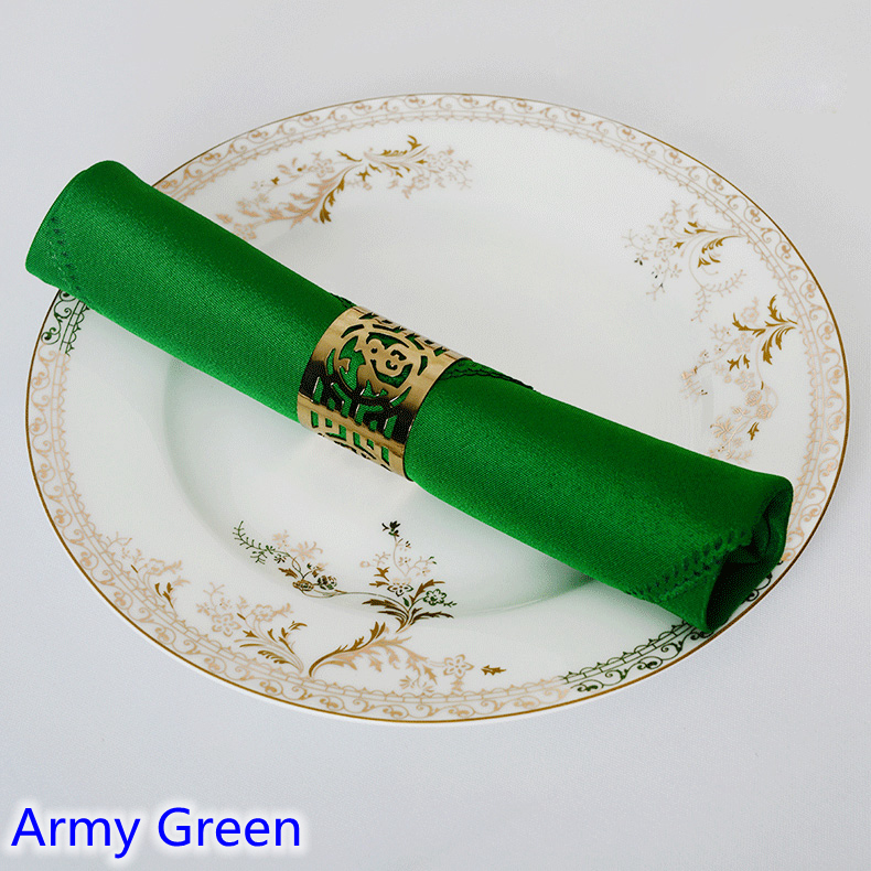 Army green colour Table napkin plain polyester napkin for wedding hotel and restaurant table decoration wrinkle stain resistant image