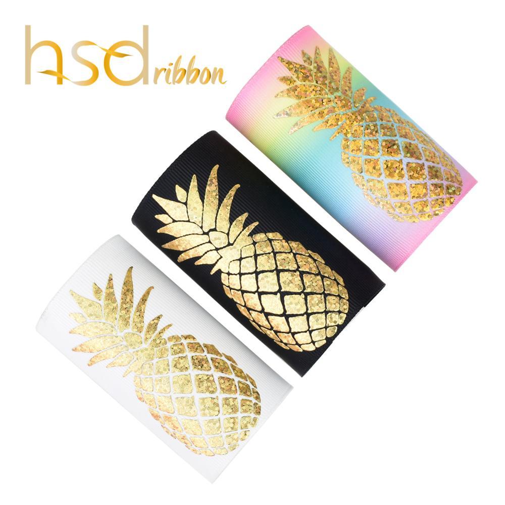 HSDRibbon 75MM 3 inch custom pattern Pineapple series laser gold Foil Printed on heat transfer printed