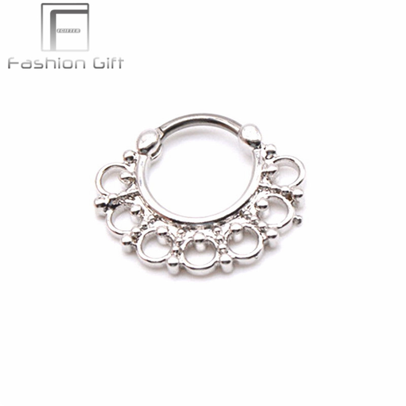 Gold Color Faux Septum Ring with G23 titanium Pole High Quality Jewelry Real Piercing for Septum Ear