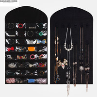 GGGGGO HOME,Non woven fabric Jewelry, card, necklace Hanging Organizers/storagebag/hanging bag,80 x 46cm size,black/cream color