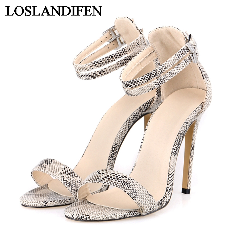 New Summer Women Pumps Sandals Fashion Sweet Sexy Thin Heeled PU Leather Sandal High Heels Shoes Ankle Strap NLK-C0112