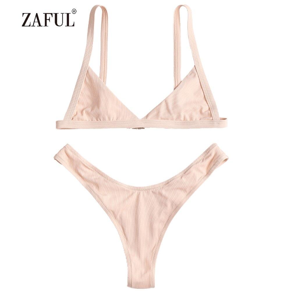 633bc94ed6 Detail Feedback Questions about ZAFUL Bikini Rib Swimwear Women High Cut  Swimsuit Sexy V Neck Strapless Thong Biquni Padded Bathing Suit maillot de  bain ...