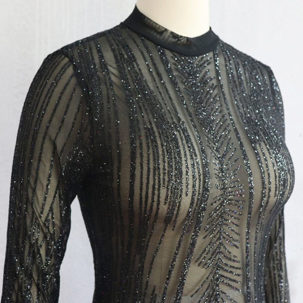 Gold Sequined Sheer Club Dress Slim Bodycon Sexy Vesitos Party Dresses Turtleneck Mesh Club Wear Lace Hollow Out Long Sleeve in Dresses from Women 39 s Clothing
