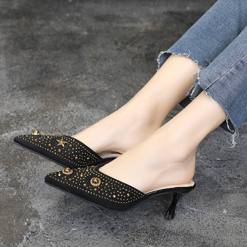 HKCP Fashion New 2019 spring summer all in one pumps with pointed stiletto heels rivets and flip flops C131 in Slippers from Shoes