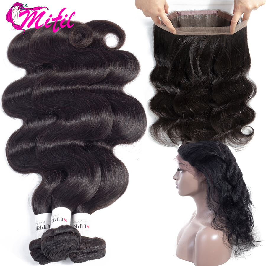 Mifil 360 czołowa koronki z wiązki peruwiański doczepy typu body wave z zamknięciem ludzkich włosów 3 wiązki z zamknięciem nie Remy włosy w 3/4 pasma z siateczką od Przedłużanie włosów i peruki na AliExpress - 11.11_Double 11Singles' Day 1