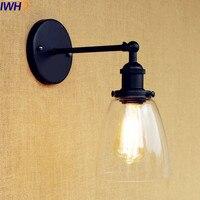 Iwhd vidro loft industrial luminárias de parede arandela wandlamp iluminação da escada edison retro vintage lâmpada parede apliques pared