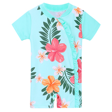 BAOHULU Cute Infant Baby Girl Swimwear Rash Guard Short Sleeve Sun Protection (UPF50+) Children Swimwear for Toddler Swimming
