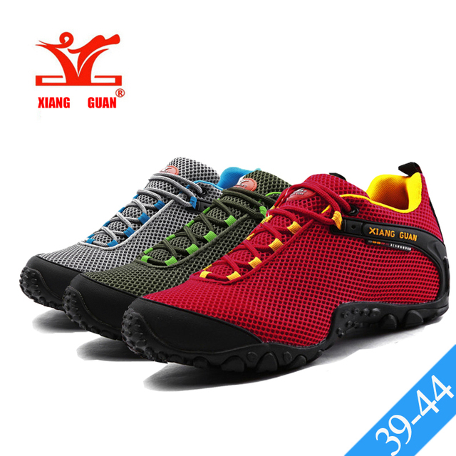 XIANG GUAN Red Mesh Trekking Shoes Mens Outdoor Athletic Sport Hiking Shoes  Cushioning Breathable Male Climbing Boots Non-slip da54550c2