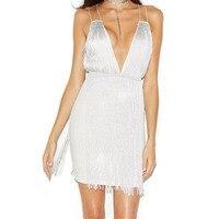 2019 Autumn Women Mini Dress White Sleeveless Spaghetti Strap Tassel Vestidos Celebrity Evening Party Dresses Clubwear