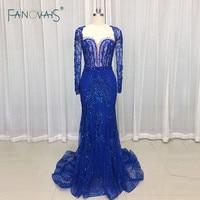 Royal Blue Evening Dresses Long Sleeves Merimad Evening Gown 2019 Prom Dress Luxury Beaded Party Gown Vestido de Fiesta NE36