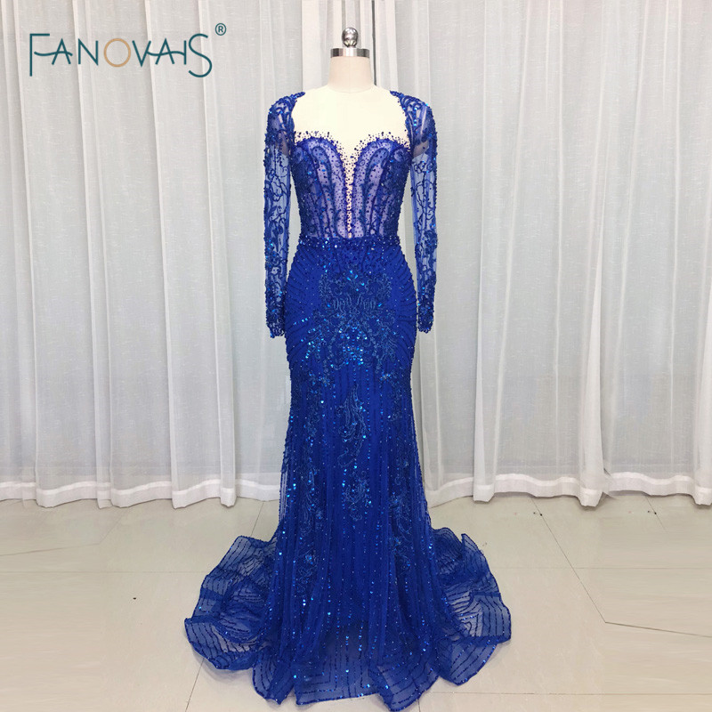 04885b7ac529 Royal Blue Evening Dresses Long Sleeves Merimad Evening Gown 2019 Prom  Dress Luxury Beaded Party Gown Vestido de Fiesta NE36
