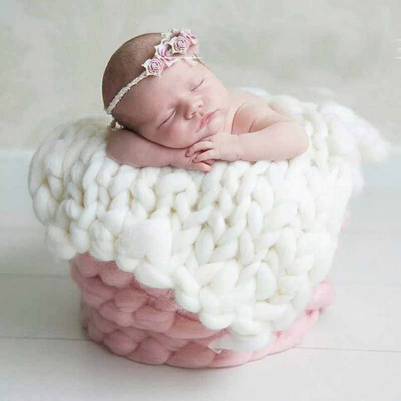 50*45cm Handwoven Braid Wool Blanket Basket Stuffer Filler Newborn Baby Photography Blanket Backdrops Photo Studio Props Shower