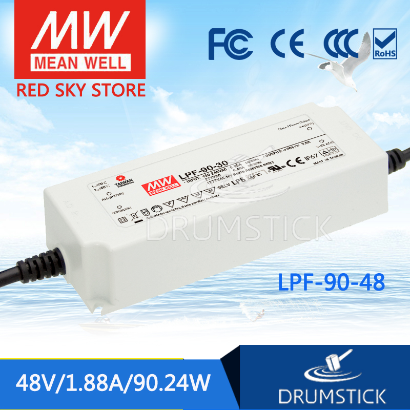 Advantages MEAN WELL LPF-90-48 48V 1.88A meanwell LPF-90 48V 90.24W Single Output LED Switching Power Supply 1mean well original lpf 90 15 15v 5a meanwell lpf 90 15v 75w single output led switching power supply