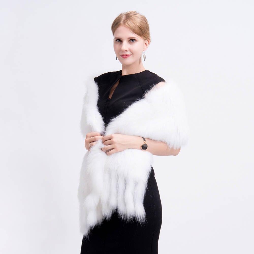 knit fox fur shawl 1