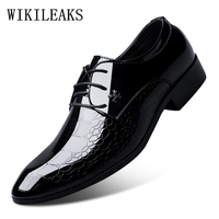 Italian Oxford Shoes For Men Luxury Brand Mens Patent Leather Black Shoes Mens Pointed Toe Dress