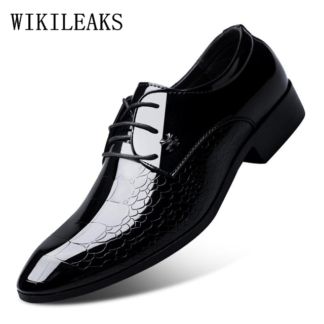 ba6f0c37bf4a italian oxford shoes for men luxury brand mens patent leather black shoes  mens pointed toe dress shoes 2019 classic derbies man