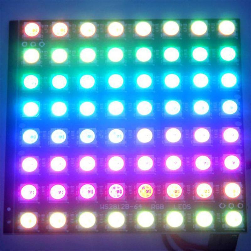WS2812B 8x8 סיביות מלא צבע 5050 RGB LED אור פנל מנורת תקרת LED צורת כיכר מנורת פנל אור לarduino