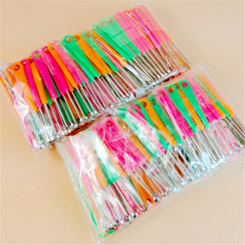 20PCS Stainless Steel Earpick Wax Remover Curette Cleaner Health Care Tools Ear Pick Plastic Handle Design For Baby Kids