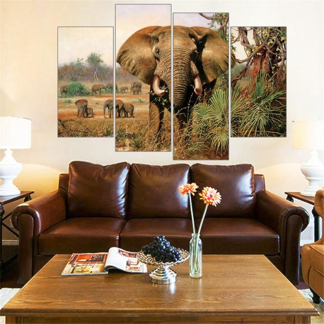 Hot koop 4 stuks luipaard leeuw olifant zebra print op canvas hot koop 4 stuks luipaard leeuw olifant zebra print op canvas afrikaanse animal schilderkunst voor room thecheapjerseys Gallery