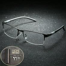 4fb9b7e2db Gafas de titanio gafas marco hombres anteojos ordenador óptico prescripción  lectura clara lente ojo masculino espectáculo .