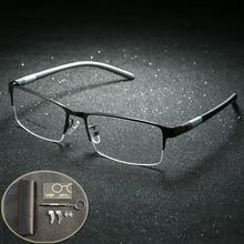 95ed4c362bd4f Óculos Óculos De Titânio Quadro Homens Óculos de Computador de Leitura  Óptica da Prescrição lunette de vue Clara Lente Olho Espe.