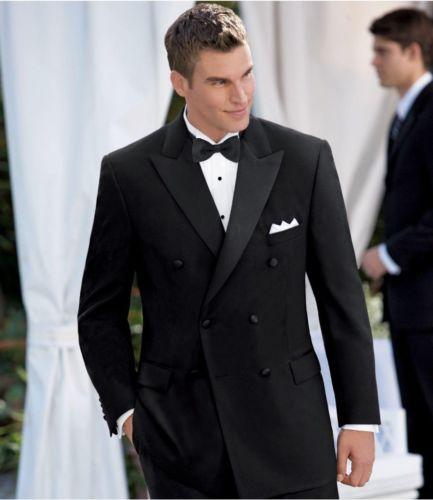 Jacket Pant Bowtie Handkerchiefs Black Double Breasted Suits