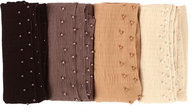 100pc Chiffon wrinkle scarf pearl edges shawl plain maxi ripple hijab long pashmina muffler muslim scarf