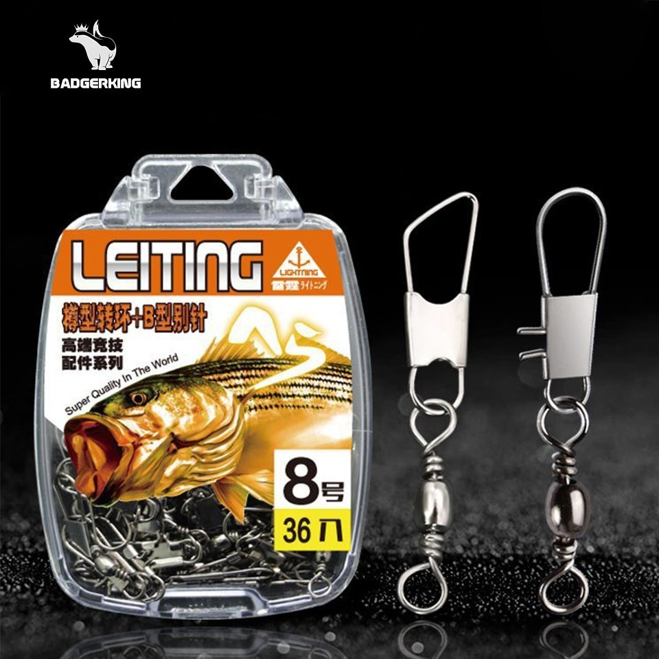 36pcs/lot Stainless Steel Barrel Snap Swivel Fishing Tackle Accessories Set For Carp Fishing Sea Fishing Outdoor Sport Accessory