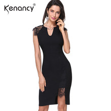 Kenancy 3XL Plus Size Lace Dress Women Short Sleeve Patchwork Bodycon Dress Sexy V Neck Slim Summer Dresses Vestidos 2019(China)