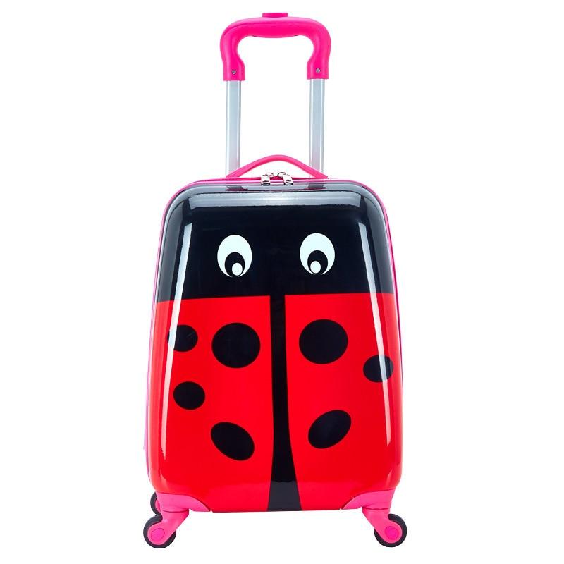 Діти тягнуть коробку ПВХ Spinner 16-дюймовий 20-дюймовий дитячий чемодан мультфільму Божа корівка Краватка Сумка Багаж