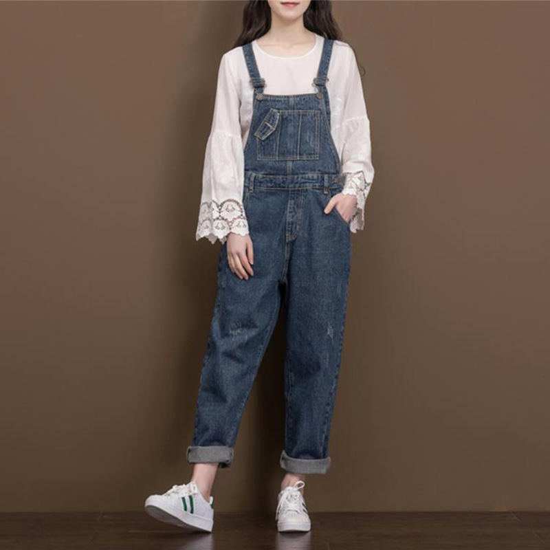 Women Vintage Casual Loose Denim Jumsuits  Ladies  Retro Plus Size Denim Overalls Jeans Rompers Ladies Wide Leg Pants