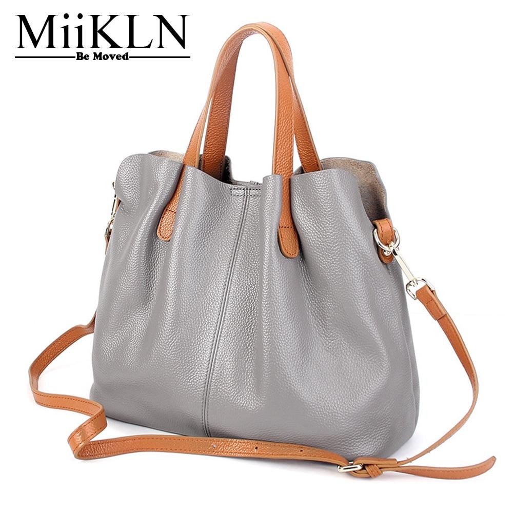MiiKLN Black Red Grey Blue Genuine Leather Women Handbags Big Capacity 2017 New Design Soft Cow Leather Crossbody Causal Tote