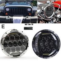 For Jeep JK lada niva 4x4 7 Inch H4 LED Headlight With Angle Eyes Turn Signal Headlamp Motorcycle For suzuki samurai Touring